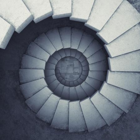 arte abstracto: Escalera de caracol de diseño de hormigón Foto de archivo