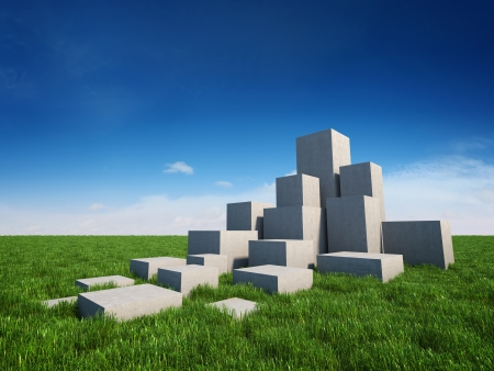 Abstract stairs of concrete cubes on field with grass and sky photo