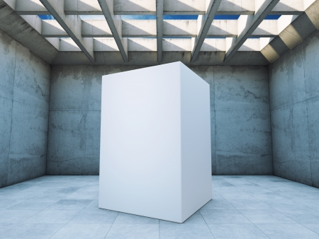 Concrete construction with abstract cube Stock Photo - 20460548