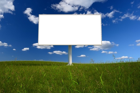 Blank billboard in a field with a blue sky Stock Photo - 20460541