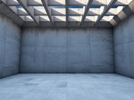 bloque de hormigon: Amplia habitaci?n vac?a con paredes de hormig?n