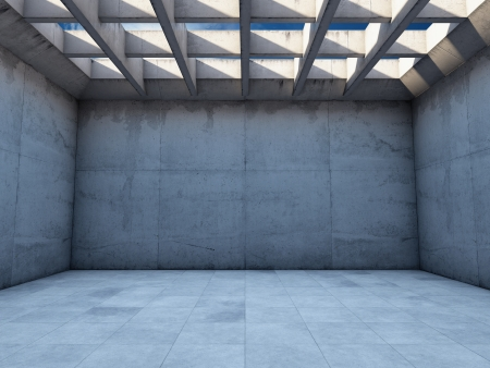 Large empty room with concrete walls