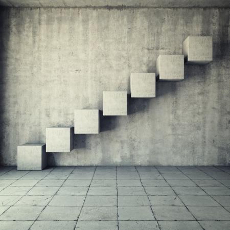 インテリアのキューブの作られた抽象的なコンクリート階段