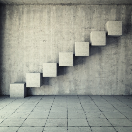 Abstract concrete staircase made of cubes in interior