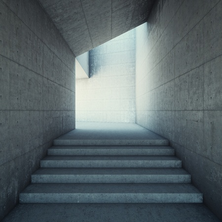 Architectural design of corridor with stairs photo