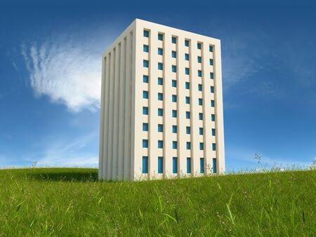 Green apartment building project in field Stock Photo - 20451163