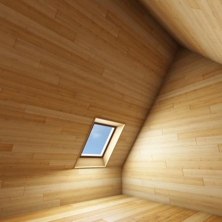 マンサード屋根窓と空の新しい部屋 写真素材