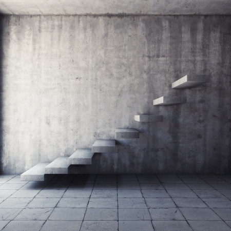 Abstract concrete staircase in interior photo
