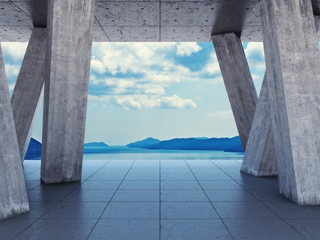 rung: Architectural design of the terrace with views of the sea Stock Photo