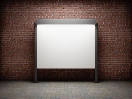 벽돌 벽에 빈 게시판 스톡 콘텐츠