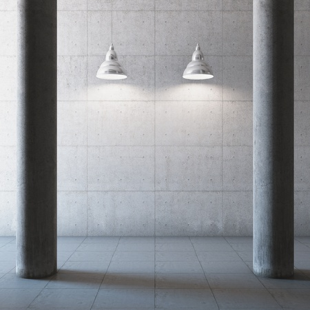 Empty large concrete hall with columns and illumination lamp Stock Photo