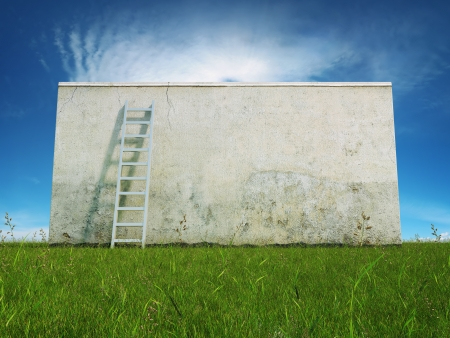 Blank dirty grunge wall with ladder on field Stock Photo - 21026035