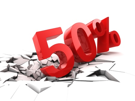 50 percent discount breaks ground Stock Photo - 21026037