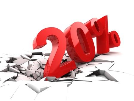 20 percent discount breaks ground Stock Photo - 21026038