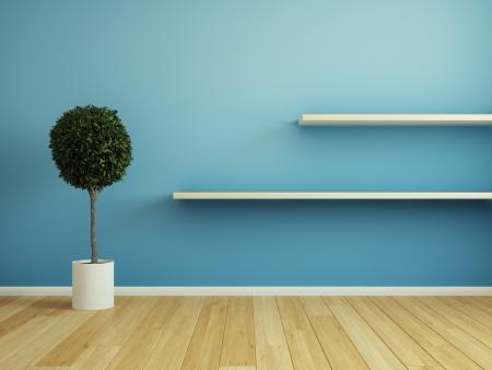 Interieur kamer met houten plank Stockfoto
