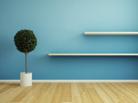 Interior room with wooden shelf Stock Photo - 21026041