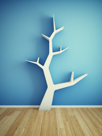 Bookshelf on wall in shape of tree photo
