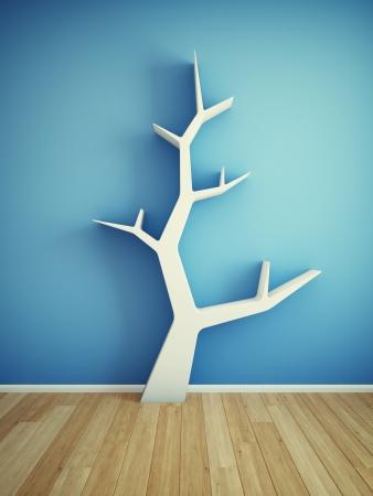 Bookshelf on wall in shape of tree 版權商用圖片 - 21026042