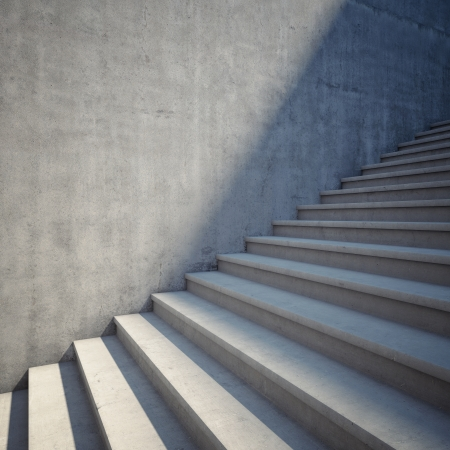 Architectonische element van de betonnen trap omhoog