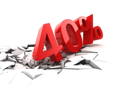40 procent korting breekt grond Stockfoto