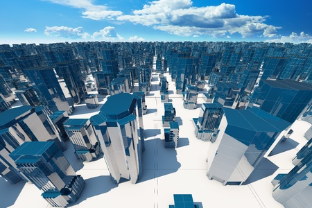 abstract city: Abstract 3d city background with sky Stock Photo