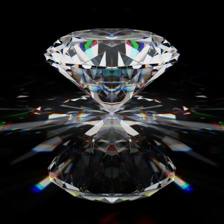 diamante negro: Diamante brillante en la superficie de negro Foto de archivo