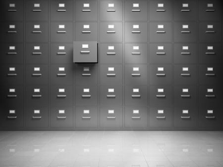 file cabinet: Archivo del gabinete con el caj?n abierto Foto de archivo