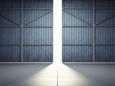 오픈 격납고 문에 밝은 빛