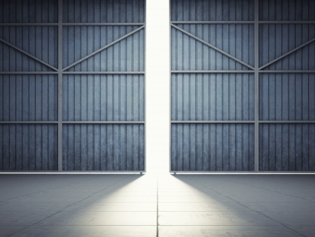 Bright light in open hangar doors Banco de Imagens