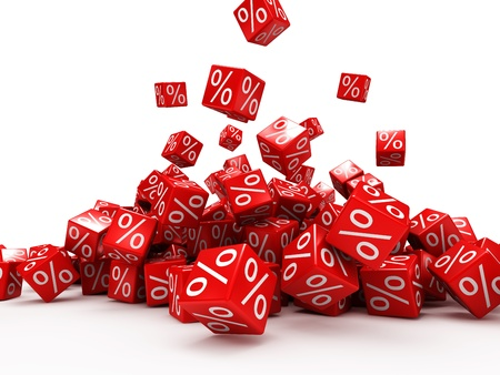 퍼센트와 빨간색 큐브 떨어지는 흰색 배경에 격리 된 스톡 콘텐츠