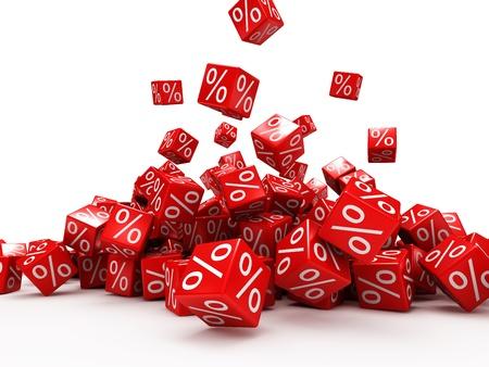 Caer rojos cubos con porcentaje aislado sobre fondo blanco Foto de archivo - 21863775