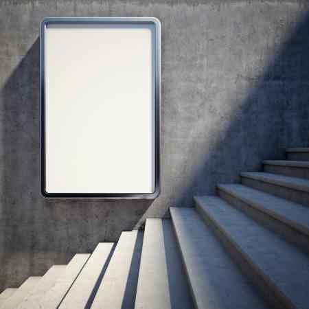Lege reclame billboard op betonnen muur met stappen omhoog