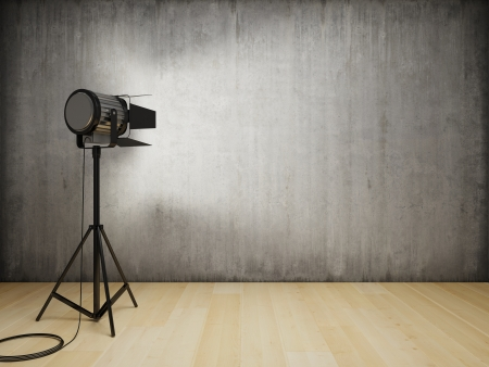 Studio light illuminates the interior with concrete wall Stock Photo