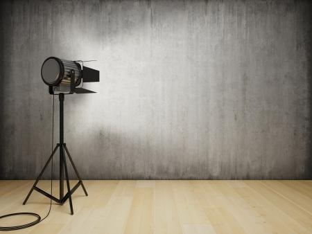 Studio luz ilumina el interior con muro de hormigón Foto de archivo - 21863780