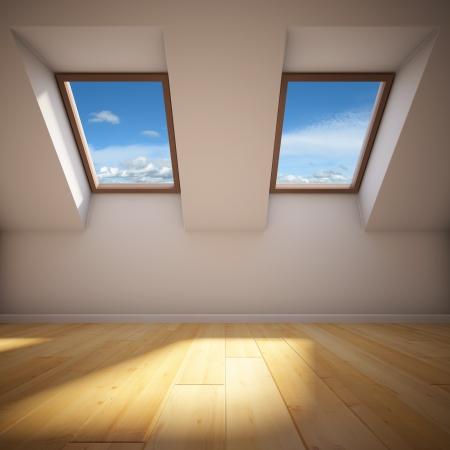 지붕창 빈 새로운 방 스톡 콘텐츠