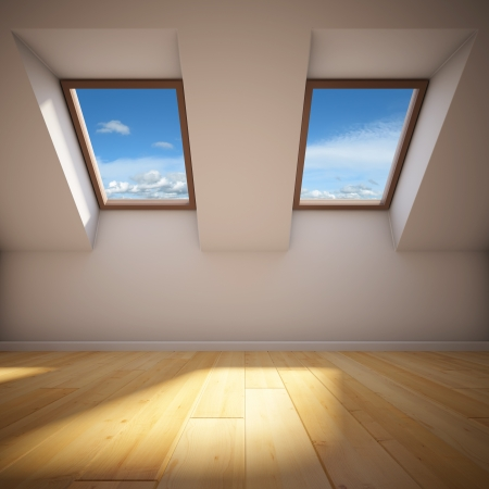 skylight: Empty new room with mansard windows
