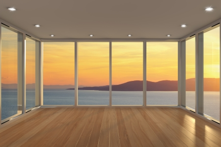 view window: Empty modern lounge area with large bay window and view of sea