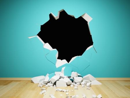 Vernietigde muur in interieur kamer Stockfoto