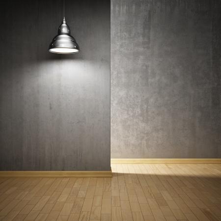 콘크리트 벽 및 램프와 실내 홀 스톡 콘텐츠