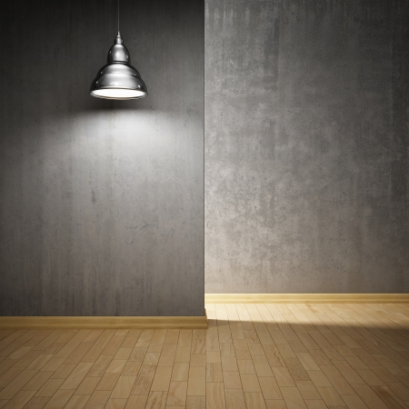 Interior hall with concrete walls and lamp photo