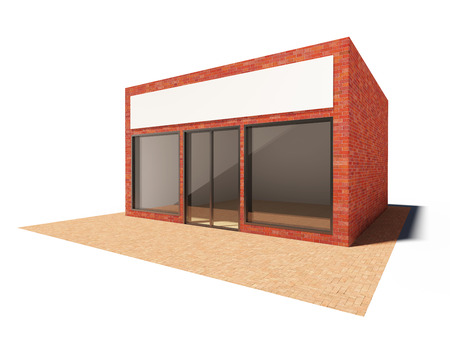 store sign: Store building with showcase and billboard