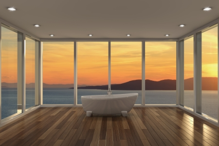 Modern bathroom with large bay window and view of sea photo