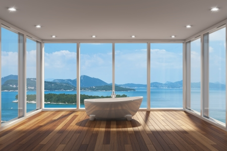 bathtubs: Modern bathroom with large bay window and view of sea