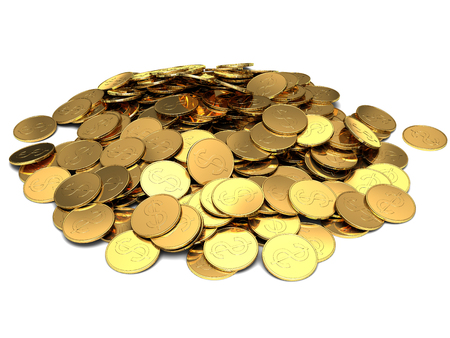 Gold coins isolated on white  photo
