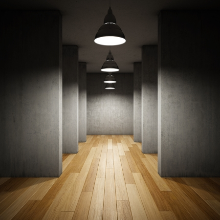 Architectural design of corridor with lamps 스톡 콘텐츠