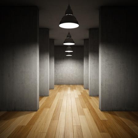 Architectural design of corridor with lamps Foto de archivo