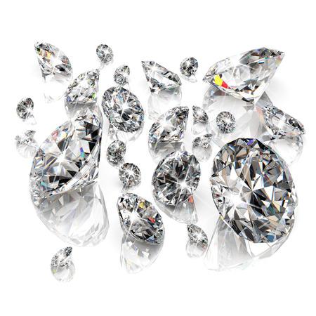 Brilliant diamonds isolated on white