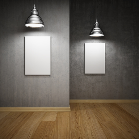 Interior hall with empty frames and lamps Stock Photo - 24406187