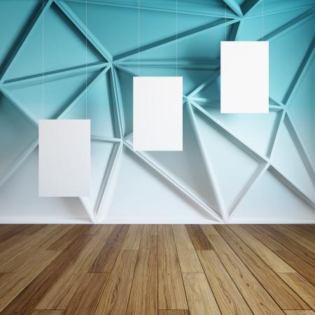 modern interieur: Lege lege frames in abstract modern interieur kamer