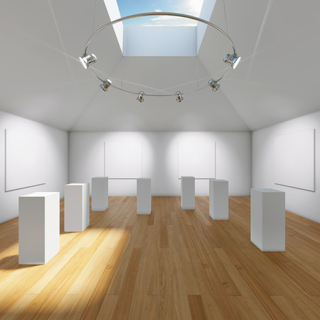 Hall gallery with blank canvas and pedestals for exposition photo